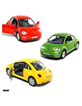 """Set of 3 Cars: 6œ"""" VW New Beetle 1/24 Scale."""