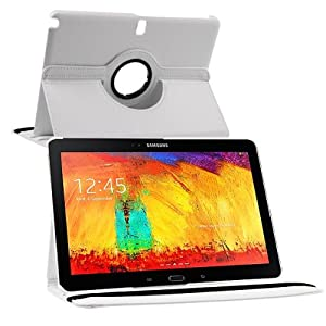 HOKO White 360 Degree Rotating Leather case cover Stand for Samsung Galaxy Note 10.1 2014 Edition (With Auto Wake / Sleep)