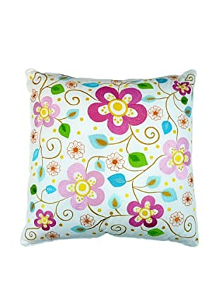 Room Seven Guadalupe Square Pillow, White/Pink/Multi