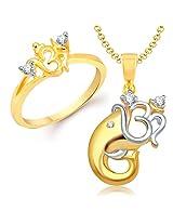 VK Jewels Divine Om Combo Ring & Pendant- COMBO1127G Size 8 [VKCOMBO1127G8]