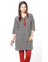 Purab Paschim Women's Cotton Printed Black & Red Kurti (20775) Large (OLT20775BRL)