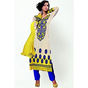 Embroidered Yellow And Blue Dress Material