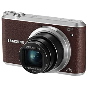 Samsung WB350F 16.2MP CMOS Smart WiFi and NFC Digital Camera with 21x Optical Zoom and 3.0-inch Touchscreen LCD (Brown), 4GB Card, Camera Case with Free Samsung Backpack