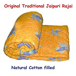 Saleshop365 Jaipuri Razai ( Quilt) Natural Cotton Stuffed Colored Base - Single Bed Size