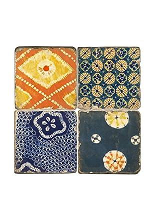 Studio Vertu Set of 4 Shibori Tumbled Marble Coasters with Stand