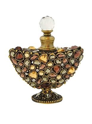 Hand-Set Crystal Crescent Perfume Bottle (Brown)