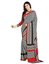 Vibes Women's Crepe Kasturi Saree with Blouse (S19-712A_ Multi-Coloured)