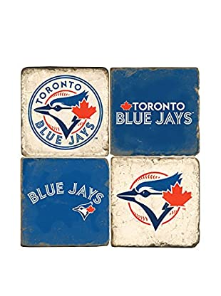 Studio Vertu Set of 4 Blue Jays Logoed Tumbled Marble Coasters with Stand