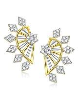 VK Jewels Rhombus Shape Gold and Rhodium Plated Alloy Stud Earrings for Women & Girls -ER1339G [VKER1339G]