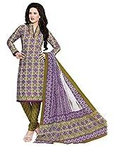 Salwar Studio Mehandi & Voilet & White Cotton Dress Material with Dupatta SHIMAYAA-1208