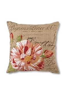 "D.L. Rhein Candystripe Rose Embroidered Hemp/Burlap Pillow, Pink, 16"" x 16"""
