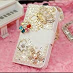 Luxury 3D Bow Fashion Bling Diamond Flower Crown Mirror Tower Ballet Girl Butterfly PU Flip Leather Case Cover For Smart Mobile Phones Crown/LG Optimus L90 D410 D405 D415