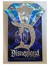 "Disneyland 60th Anniversary Diamond Celebration Jeweled ""D"" 60 Trading Pin"