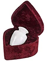 Elegante Beautifully Crafted Genuine Marble White Grain Keepsake with Elegant Velvet Case