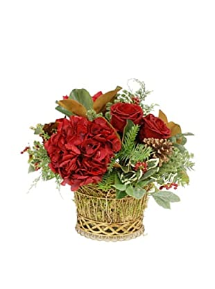 Winward Hand-Crafted Mixed Rose Arrangement, Red/Green