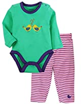 Snuggles Bodysuit with Legging Sparrow Print - Electric Green/Lilac Sachet (6-9M)