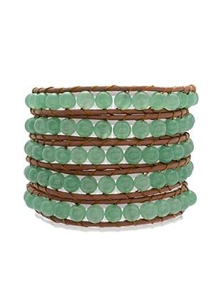 Lucie & Jade Echtleder-Armband Aventurinquarz braun/grün