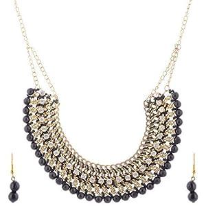 The Crazy Neck White Stone N Black Beads Neck Piece jewellery Set