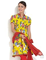 Flared Kurti With Bold Floral Print-Yellow-S
