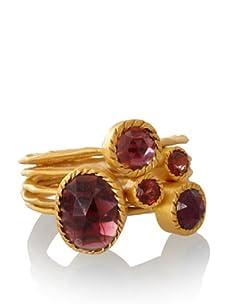 Kevia Set of 5 Stackable Garnet Rings