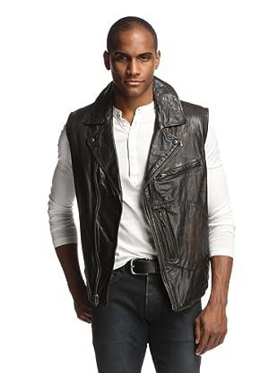Denim & Leathers by andrew Marc Men's Moto Vest (Jet Black)