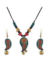 Scorched Earth Multi-Colour Terracotta Pendant Set For Women SES03ab