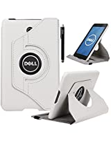 Dell Venue 7 Case, E LV Dell Venue 7 (2013) Case Cover 360 rotating Lightweight case for Venue 7 Tablet (2013) [will ONLY fit Dell Venue 7 (2013) tablet] - WHITE