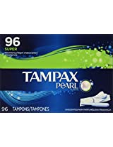 Tampax Pearl super absorbency tampons plastic applicator 96 ct Box