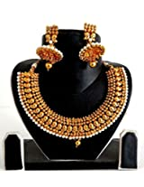 Megh Craft SOUTH INDIAN ONE GRAM GOLD PLATED BRIDAL JEWELLERY JWOG133