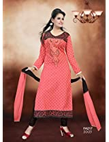 Fabfirki-The New Designer Attractive Red And Black Salwar Suit