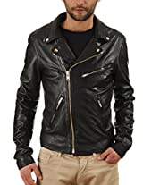 Iftekhar Men's Pure leather Jacket - Black - (Iftekhar05 - L)
