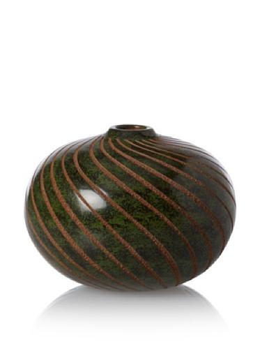 Chaka MarketBridge Spiral Ombliguero Vase, Green/Tan, 4.5