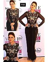Appealing Huma Qureshi Black Saree Gown