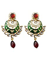 Dhwani Creation Drop Alloy Earrings For Girls and Women (Red & Green)