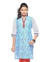 Purab Paschim women's Casual Printed BLUE MOON Kurti