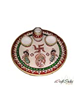 eCraftIndia Lord Ganesha Pooja Thali with Peacock (9 IN, Red,Green and Golden)