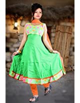 SIXMETER Cotton Semi Casual Anarkali Suit - SM-SBF1121 (Green)
