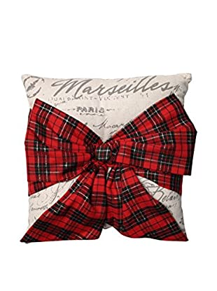 Pillow Perfect Holiday Plaid Bow Throw Pillow