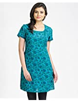 Cotton A-Line Scoop Neck Printed Mini Kurta-M-Turquoise