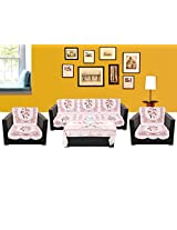 WSB Floral 11 Piece Polyester Sofa Cover Set - White 65x57 CM