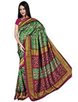 Kothari Printed Saree (KT0107MB_Green Pink)
