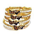 Aria wedding collection gold plated peacock pearl polki 4pc bangle l28573