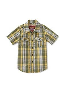 KANZ Boy's Short Sleeve Button Down (Olive/Yellow Plaid)