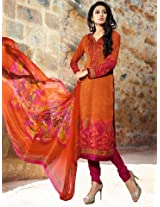 Pashmina Orange & Pink Embroidered Unstitched Suit
