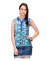 Yepme Women's Blue Cotton Tops YPMTOPS0683_M