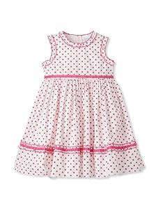 Baby CZ Girl's Polka-Dot Dress (White/Magenta)