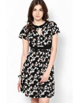 Black Printed Round Neck Dress