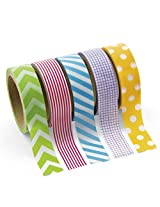 Paper Primary Patterned Washi Tape Set (5 Rolls) Party Supplies