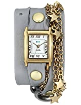 La Mer Collections Women's LMCW5001 Gold-Tone Star Charms and Multi-Chain Wrap Watch With Gray Leather Band