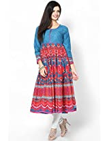 Cotton Blue Anarkali